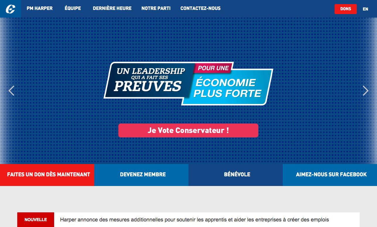 Site web du Parti conservateur du Canada