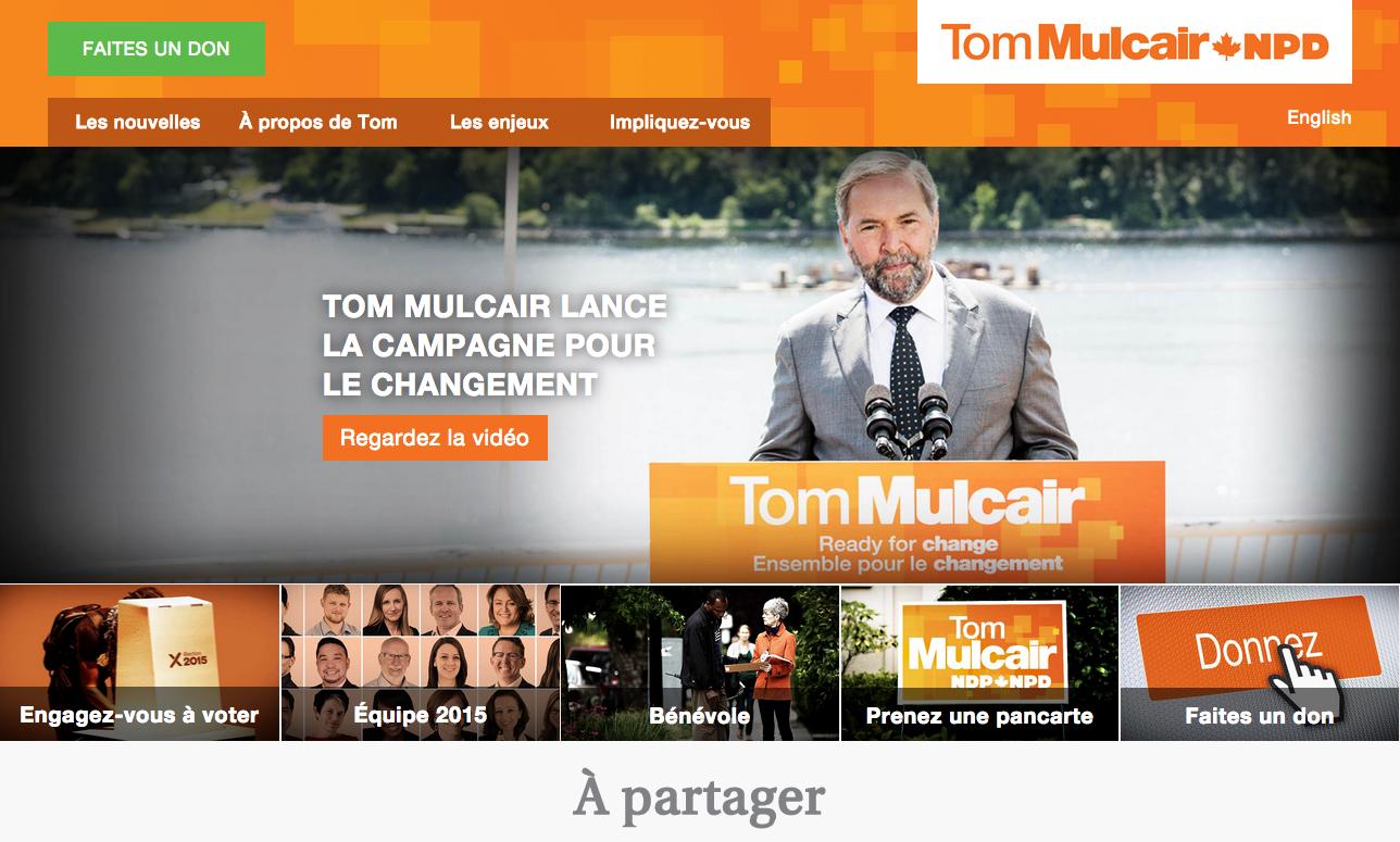 Site web du Nouveau Parti démocratique du Canada (NPD)