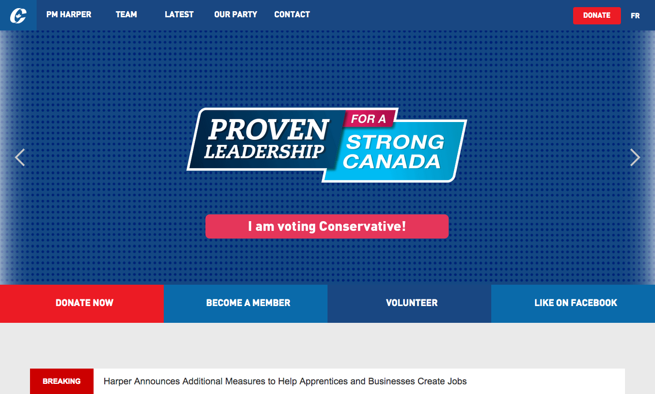 Conservative party of Canada website